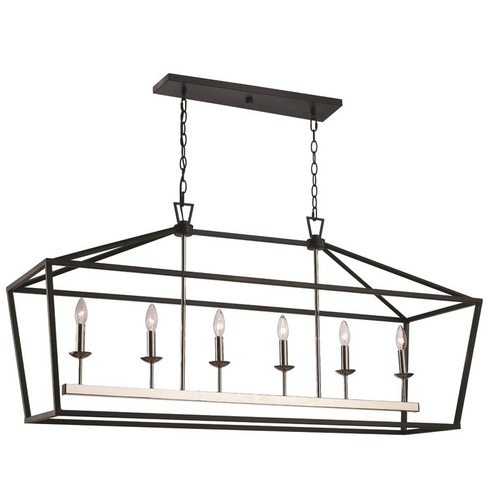 Fashionable Thorne 6 Light Lantern Square / Rectangle Pendants For Carmen 6 Light Kitchen Island Linear Pendant (Gallery 30 of 30)