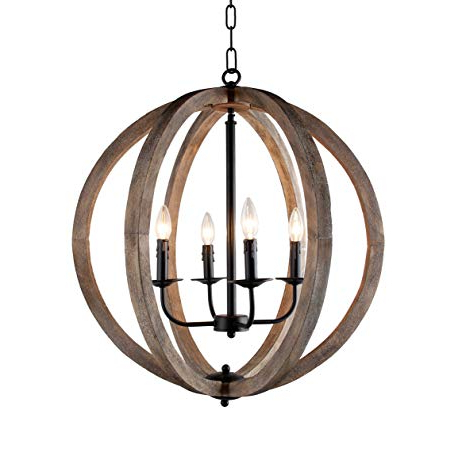 "Favorite Blanchette 5 Light Candle Style Chandeliers Throughout Stanton 4 Light Candle Style Rustic Chandelier Wood Frame Orb Foyer  Chandelier 24.4"" H X  (View 15 of 30)"
