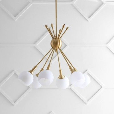 "Favorite Justine 6 Light 22"" Adjustable Pendant – Brass – Safavieh In Regarding Silvia 6 Light Sputnik Chandeliers (View 6 of 30)"