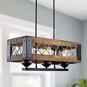 Favorite Laluz Wood Kitchen Island Farmhouse Pendant Lighting Hanging In Ellenton 4 Light Rectangle Chandeliers (Gallery 27 of 30)