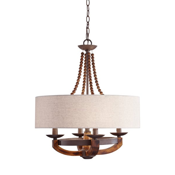 Feiss Adan 4 Light Rustic Iron / Burnished Wood Chandelier With Regard To Best And Newest Dailey 4 Light Drum Chandeliers (Gallery 17 of 30)