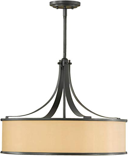 "Feiss F2343/4Dbz Casual Luxury Glass Drum Pendant Lighting, Bronze, 4 Light  (23""dia X 18""h) 400Watts Inside Trendy Dailey 4 Light Drum Chandeliers (Gallery 19 of 30)"