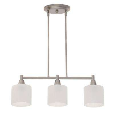 Finnick 3 Light Lantern Pendants With Regard To Most Recently Released Oron 3 Light Brushed Steel Island Light With White Glass Shades (Gallery 28 of 30)