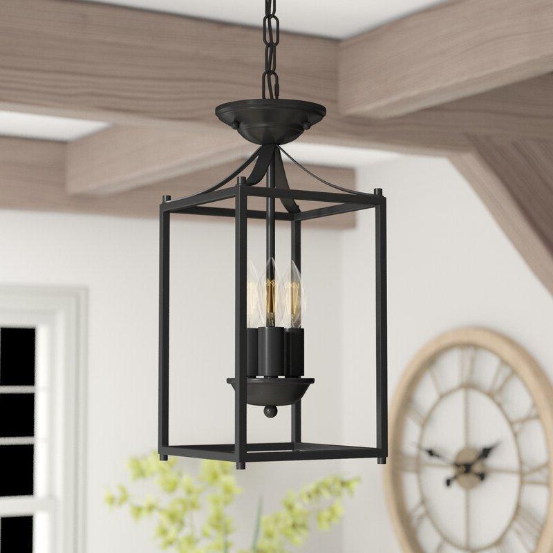 Finnick 3 Light Lantern Pendants Within Most Current Barryton 3 Light Lantern Square Pendant (Gallery 17 of 30)