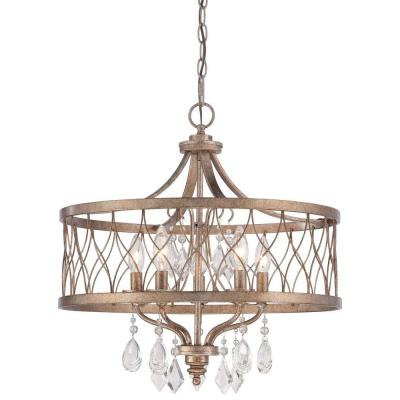 Florentina 5 Light Candle Style Chandeliers For Current Gold – Candle Style – Chandeliers – Lighting – The Home Depot (View 23 of 30)