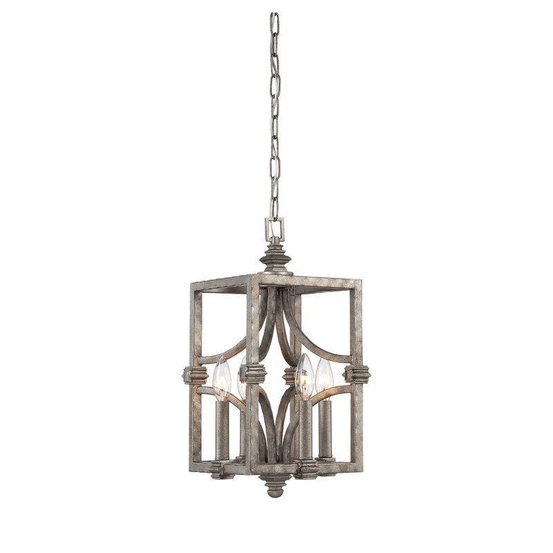 Freeburg 4 Light Lantern Square / Rectangle Pendant Regarding 2020 Destrey 3 Light Lantern Square/rectangle Pendants (Gallery 12 of 30)