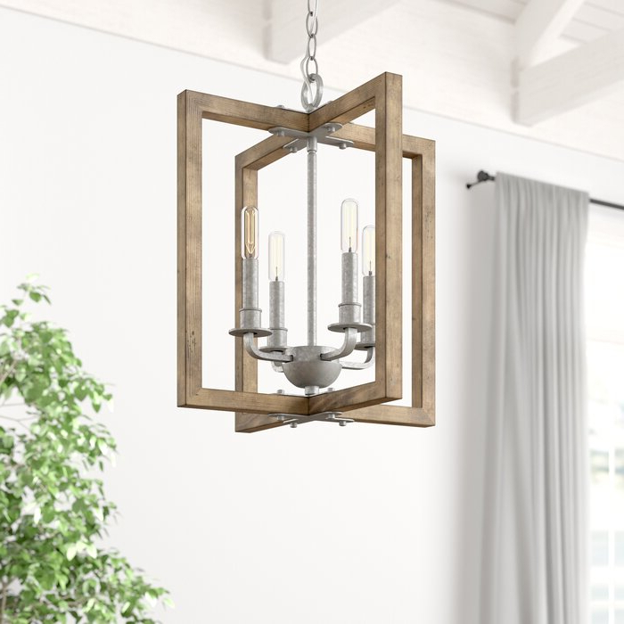 Freeburg 4 Light Lantern Square / Rectangle Pendants Intended For 2019 Daugherty 4 Light Square/rectangle Chandelier (View 9 of 30)