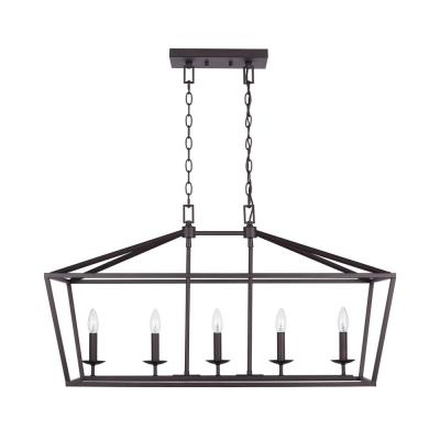 Freemont 5 Light Kitchen Island Linear Chandeliers Pertaining To Newest Bronze – Chandeliers – Lighting – The Home Depot (Gallery 20 of 30)