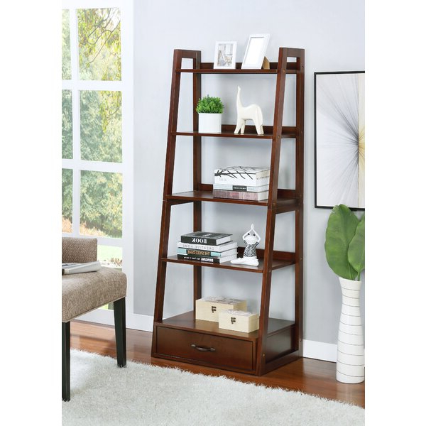 Frey 5 Shelf Ladder Bookcasehighland Dunes With Newest Tinoco Storage Shelf Standard Bookcases (View 2 of 20)
