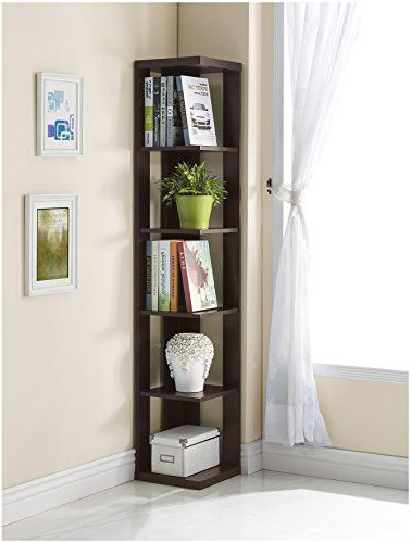 Fuhrmann Corner Bookcases Pertaining To Fashionable Cappuccino Finish Wood Wall Corner 5 Tier Bookshelf Bookcase (View 16 of 20)