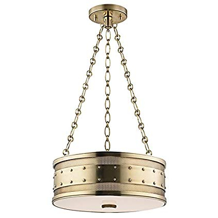 Gaines 3 Light Pendant – Aged Brass Finish With Frosted Inside Most Up To Date Gaines 5 Light Shaded Chandeliers (View 22 of 30)