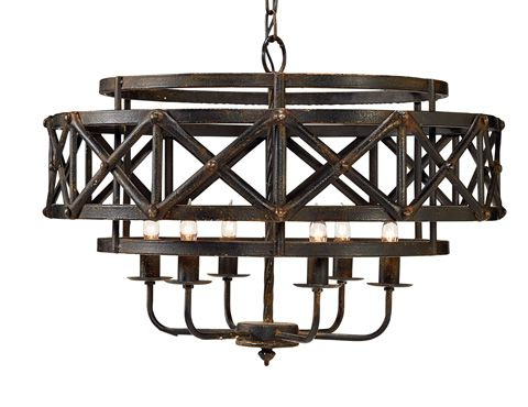 Gaines 5 Light Shaded Chandeliers Regarding Trendy Magnolia Homejoanna Gaines – Metal Industrial Trestle (View 19 of 30)