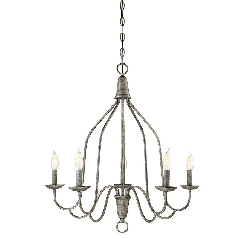 Geeta 5 Light Candle Style Chandelier In Well Known Berger 5 Light Candle Style Chandeliers (View 7 of 30)