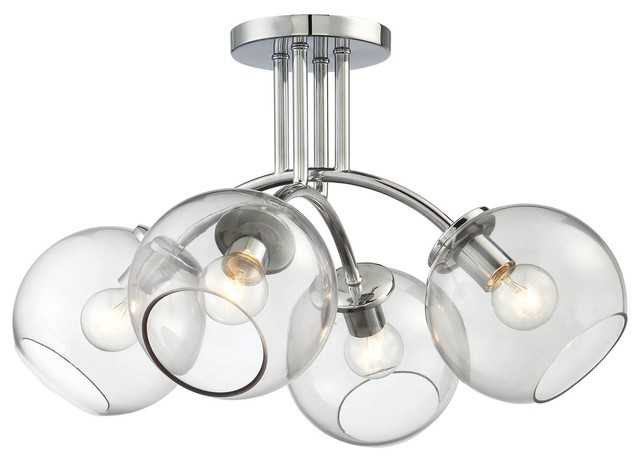 George Kovacs Exposed 4 Light Semi Flush Mount Throughout Current Tabit 5 Light Geometric Chandeliers (View 5 of 30)