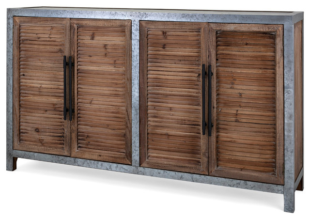 Gertrude Sideboards In Favorite Wood And Metal Sideboard With Four Louvered Cabinet Doors, Gray And Brown (View 7 of 20)