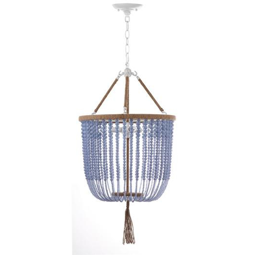 Giselle Light Blue Beaded Foyer Pendant In Best And Newest Gisselle 4 Light Drum Chandeliers (View 9 of 30)