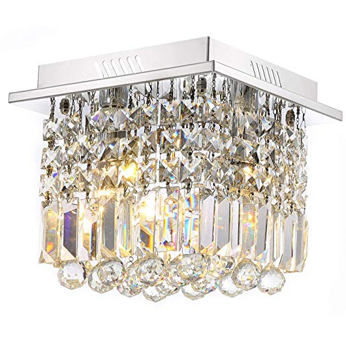 Gisselle 4 Light Drum Chandeliers With Well Liked Square Crystal Chandelier Light: Amazon (View 16 of 30)