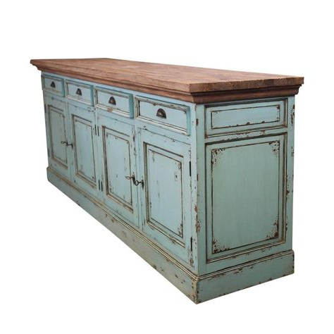 Giulia 3 Drawer Credenzas With Regard To Well Liked Scranton Ocean Blue Two Tone Solid Wood 4 Drawer Extra Long (View 14 of 20)