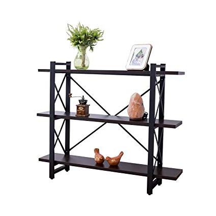 Grace Tech 3 Tier Industrial Bookshelf Etagere Bookcase Wood And Metal Book  Shelves Furniture, Retro Rustic Home Office Storage Rack 3 Shelf Brown For Fashionable Rech 4 Tier Etagere Bookcases (View 5 of 20)