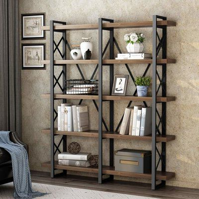 Gracie Oaks Hessler Solid Wood Wide Open Etagere Bookcase In Regarding Recent Babbitt Etagere Bookcases (View 11 of 20)