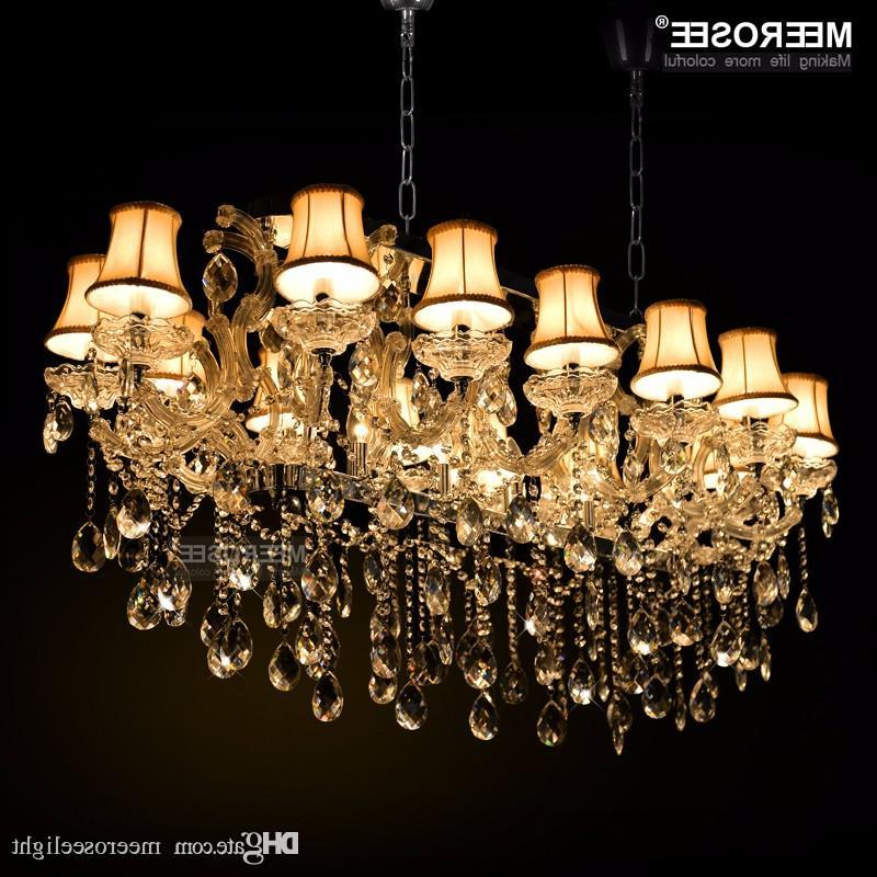 Gran Hotel Maria Theresa Lights Colgantes De Cristal Auténtico Rectangle Crystal Chandelier Lámpara Foyer Lusters Para Comedor 18 Luces Pertaining To 2019 Thresa 5 Light Shaded Chandeliers (View 27 of 30)