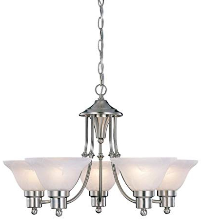 """Hardware House 544452 54 4452 Bristol 5 Light Chandelier, 24""""x15"""", Satin  Nickel For Most Recently Released Newent 5 Light Shaded Chandeliers (Gallery 15 of 30)"""