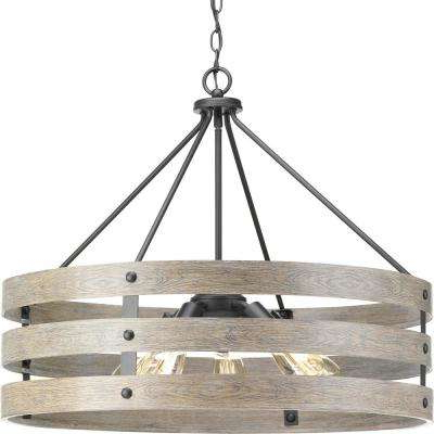 Harlan 5 Light Drum Chandeliers Throughout Most Recently Released Gulliver 5 Light Graphite Drum Pendant With Weathered Gray Wood Accents (View 15 of 30)