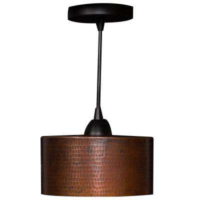 Harlan 5 Light Drum Chandeliers Within Current 1 Light Hammered Copper Ceiling Mount Cylinder Pendant In Oil Rubbed Bronze (View 29 of 30)