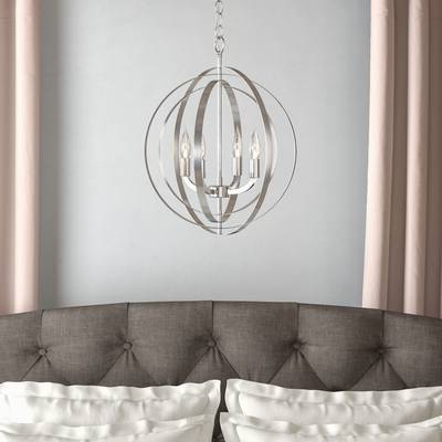 Hendry 4 Light Globe Chandeliers For Most Current Elivra 1 Light Single Globe Pendant (View 5 of 30)