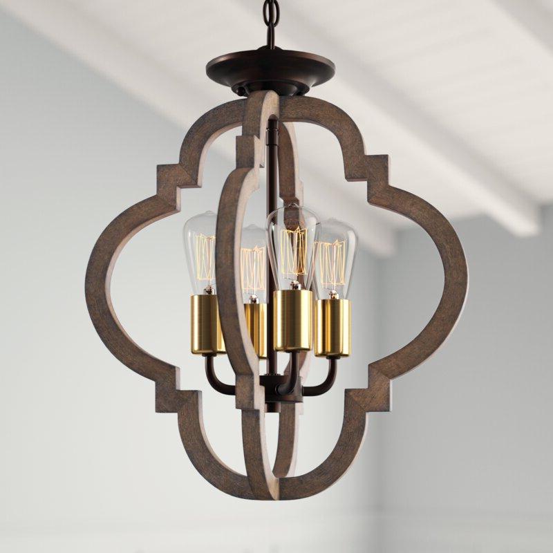 Hendry 4 Light Globe Chandeliers Inside Best And Newest Kaycee 4 Light Geometric Chandelier (Gallery 14 of 30)