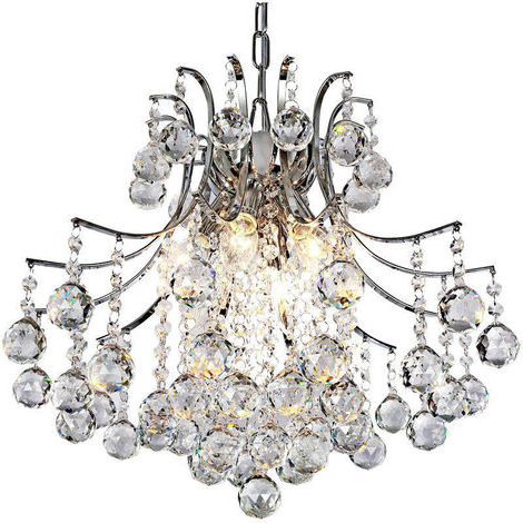 Homcom Modern Crystal Ceiling Lamp 6 Light Droplet For Trendy Donna 6 Light Globe Chandeliers (View 26 of 30)