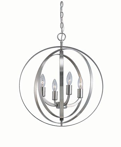 Home Decorators Collection 4 Light Brushed Nickel Sphere Regarding Recent Morganti 4 Light Chandeliers (View 6 of 30)