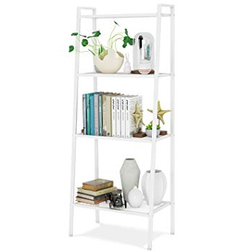 Homfa Storage Shelf Bookcase Display Ladder Shelf Wall Organizer Rack  4 Tier White 60*35*147Cm Regarding Most Recently Released Brock Ladder Bookcases (View 12 of 20)