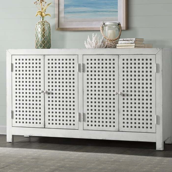 Isherwood Four Door Pierced Grid Sideboard In Famous Fugate 2 Door Credenzas (Gallery 12 of 20)