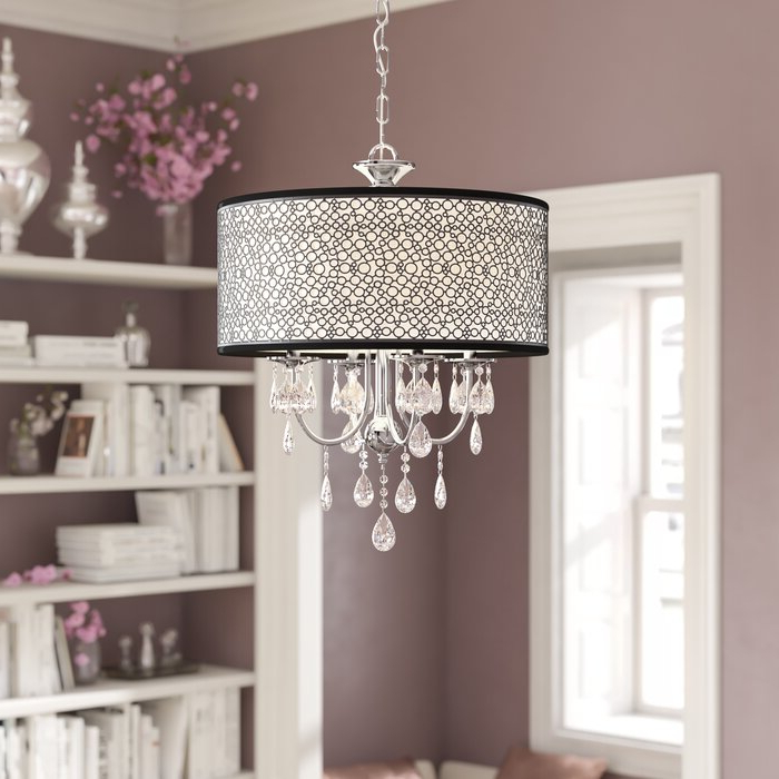Jill 4 Light Drum Chandeliers Pertaining To Most Recently Released Darshan 4 Light Drum Chandelier (View 10 of 30)