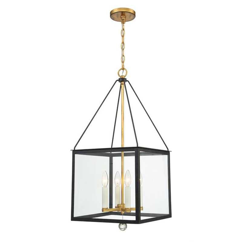 Jill 4 Light Drum Chandeliers Throughout Widely Used Crystorama Weston 4 Light Black And Antique Gold Lantern (View 27 of 30)