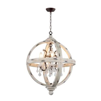 Joon 6 Light Globe Chandeliers Inside Recent Hercules 4 Light Brown Wood Globe Chandelier Lz3225 4 – The (View 12 of 30)