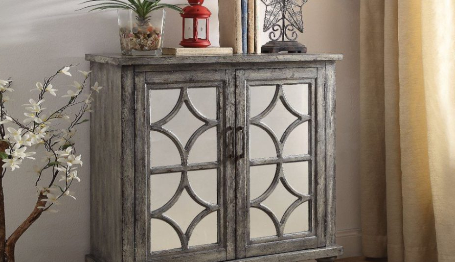 Kara Whitesbu Achilles Hometrends Green Drawer Cabinet Pertaining To Trendy Kara 4 Door Accent Cabinets (Gallery 13 of 20)