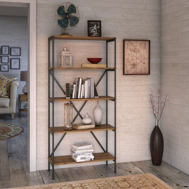 Kathy Ireland Vintage Golden Oak 5 Shelf Etagere Bookcase – Ironworks Regarding Most Popular Rocklin Etagere Bookcases (View 9 of 20)