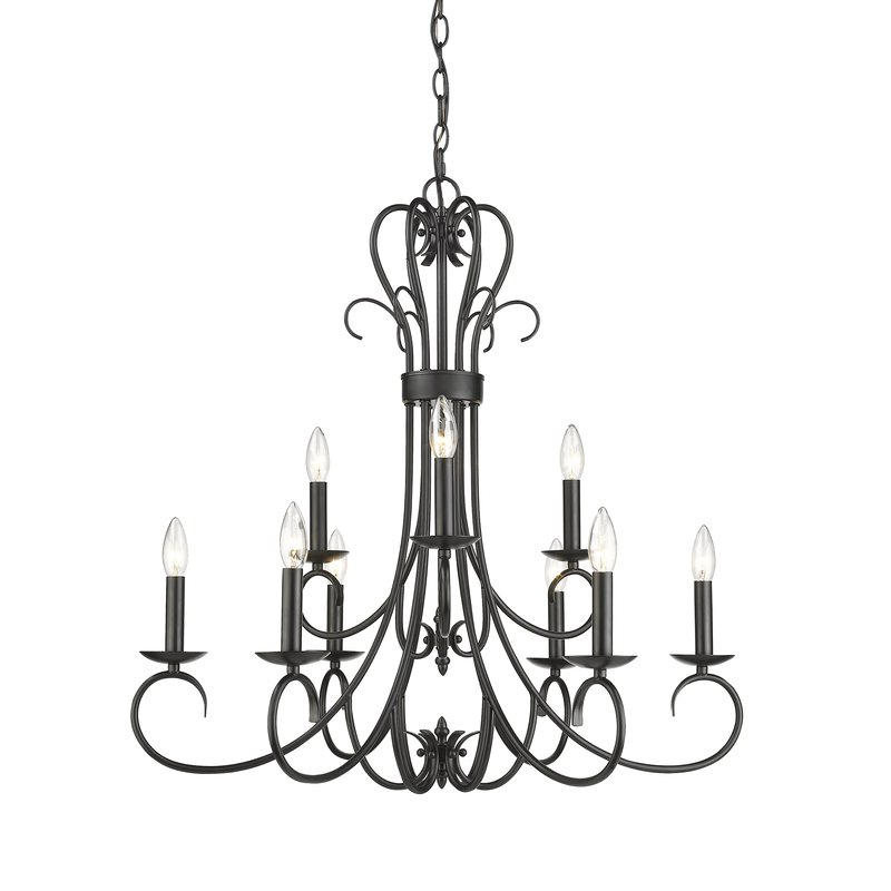 Kenedy 9 Light Candle Style Chandeliers With Regard To 2019 Gaines 9 Light Candle Style Chandelier (View 7 of 30)