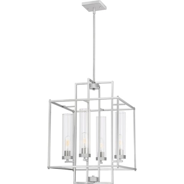 Kenedy 9 Light Candle Style Chandeliers With Regard To 2019 Shop Quoizel Lindley Brushed Nickel 4 Light Foyer Chandelier (View 14 of 30)