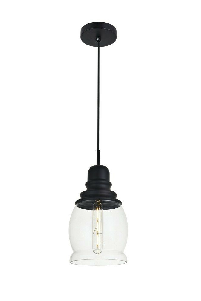 Kenna 5 Light Empire Chandeliers For Fashionable Elegant Ld2238Bk Kenna 1 Light Black Pendant With Clear Glass (View 11 of 30)
