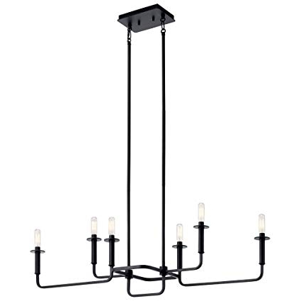 Kichler Lighting 43362bk Alden – Six Light Linear Chandelier Within 2019 Alden 6 Light Globe Chandeliers (View 19 of 30)