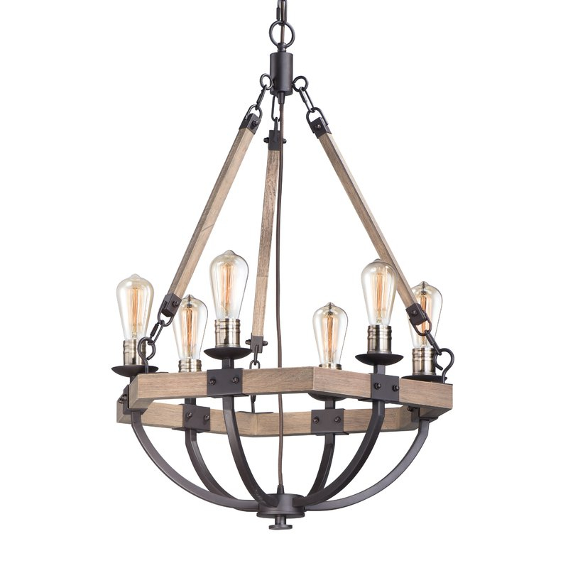 Killion 6 Light Wagon Wheel Chandelier Intended For 2020 Sherri 6 Light Chandeliers (View 12 of 30)