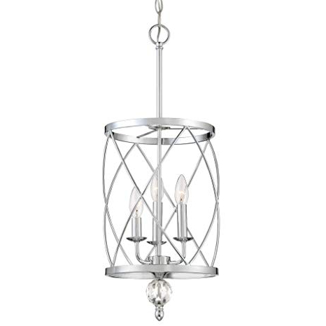 "Kira Home Eleanor 13"" 3 Light Traditional Foyer Light Pendant Chandelier,  Cylinder Metal Shade, Adjustable Height, Chrome Finish In Most Recently Released 3 Light Lantern Cylinder Pendants (View 16 of 30)"