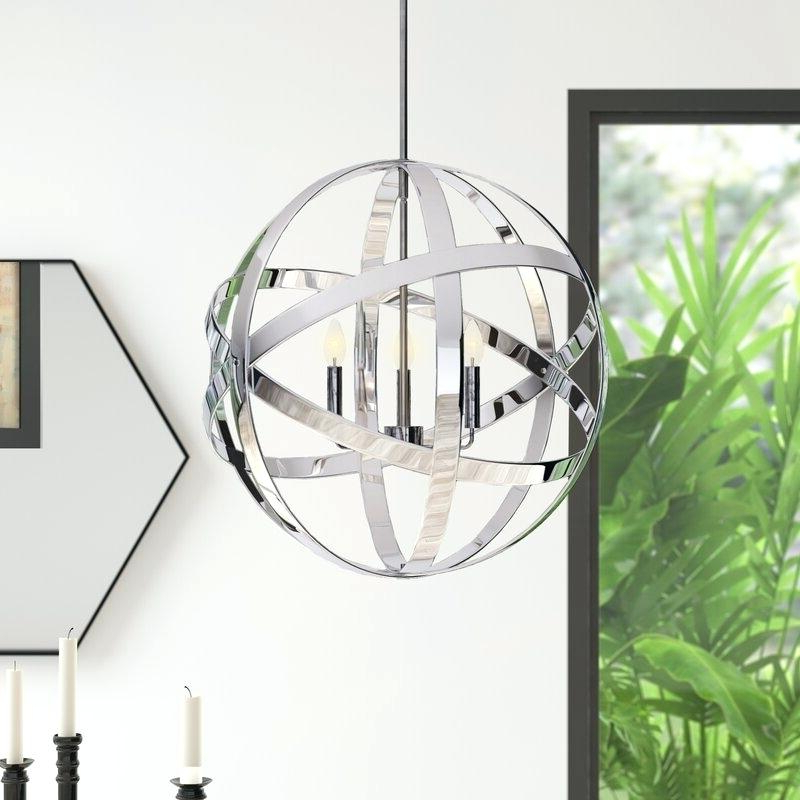 La Barge 3 Light Globe Chandeliers With Regard To Fashionable 3 Light Globe Chandelier Antique Bronze Wrought Iron Cage (View 9 of 30)