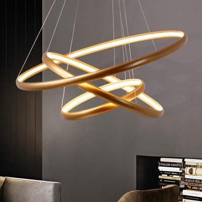 Ladonna 5 Light Novelty Chandeliers Within Most Popular Modern Gold Chandelier Ultra Thin Multi Ring 20/50/100w (View 17 of 30)