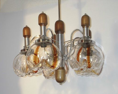 Large Chandelier With 5 Globes From Mazzega, 1970s Intended For Current Corneau 5 Light Chandeliers (View 28 of 30)