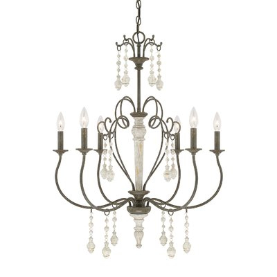 Lark Manor Bouchette Traditional 6 Light Candle Style Pertaining To 2020 Berger 5 Light Candle Style Chandeliers (View 26 of 30)