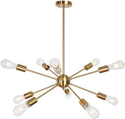 Latest Amazon: Sputnik Chandelier 10 Light Black Modern Pendant Intended For Everett 10 Light Sputnik Chandeliers (Gallery 21 of 30)